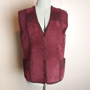 Vintage 80s suede knit vest